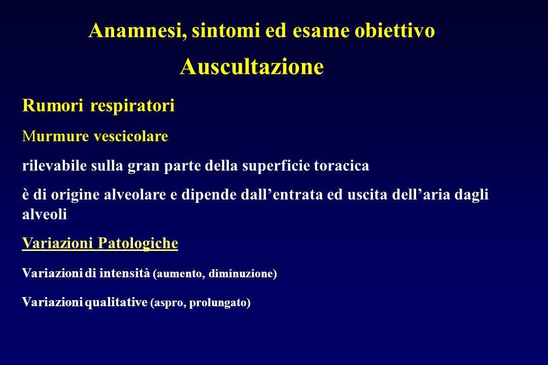 Anamnesi, sintomi ed esame obiettivo Auscultazione Rumori respiratori Murmure vescicolare rilevabile sulla gran parte della superficie toracica è di o