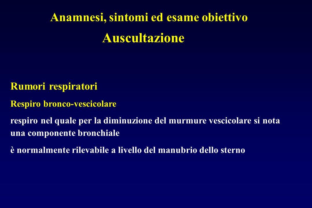 Anamnesi, sintomi ed esame obiettivo Auscultazione Rumori respiratori Respiro bronco-vescicolare respiro nel quale per la diminuzione del murmure vesc