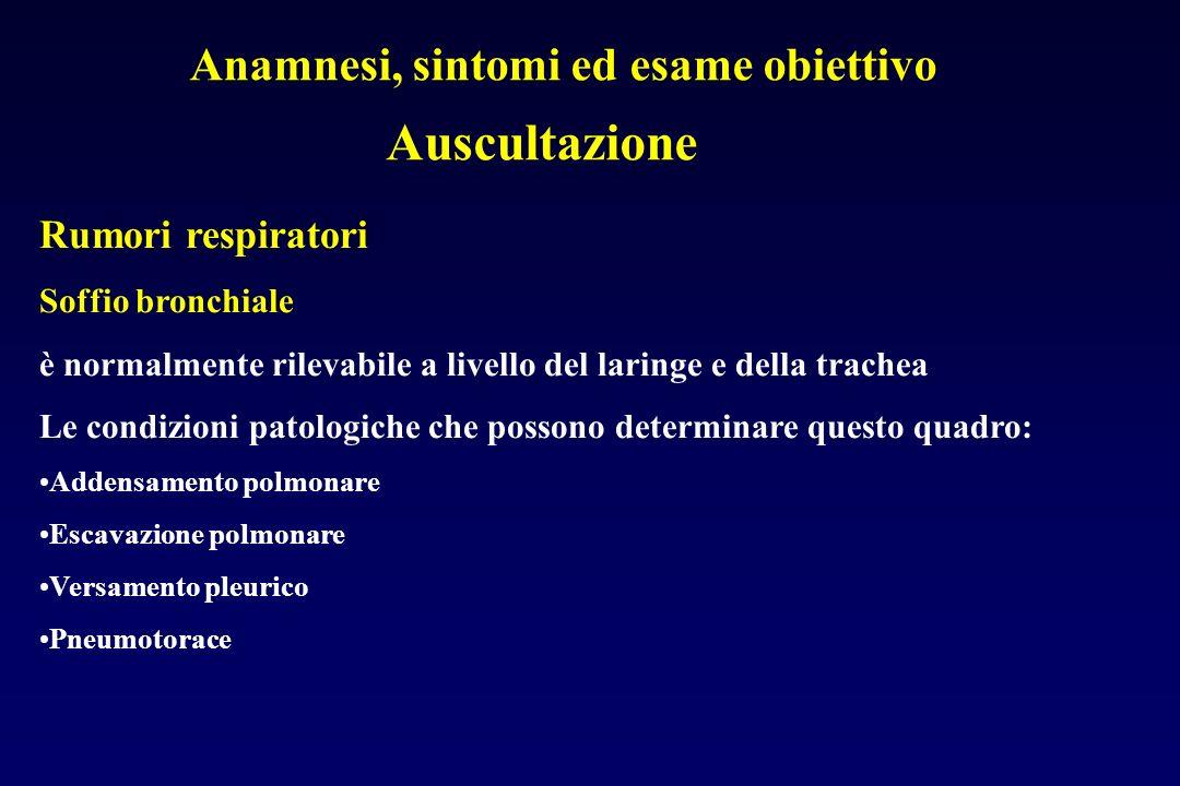 Anamnesi, sintomi ed esame obiettivo Auscultazione Rumori respiratori Soffio bronchiale è normalmente rilevabile a livello del laringe e della trachea Le condizioni patologiche che possono determinare questo quadro: Addensamento polmonare Escavazione polmonare Versamento pleurico Pneumotorace