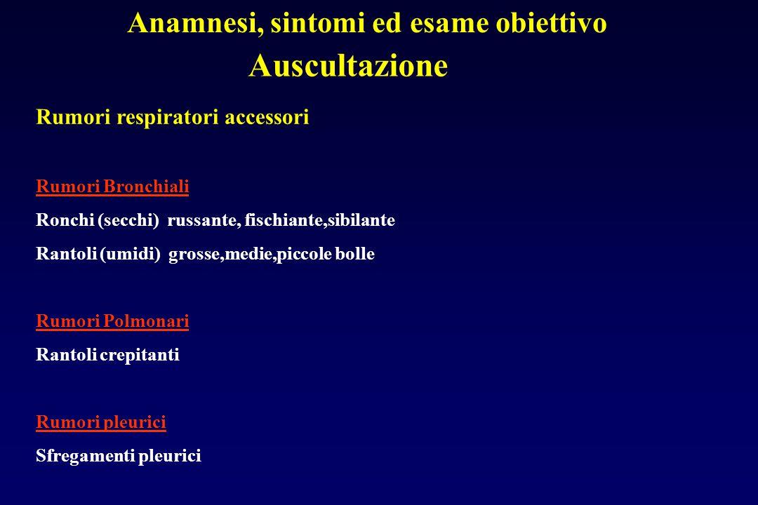 Anamnesi, sintomi ed esame obiettivo Auscultazione Rumori respiratori accessori Rumori Bronchiali Ronchi (secchi) russante, fischiante,sibilante Ranto