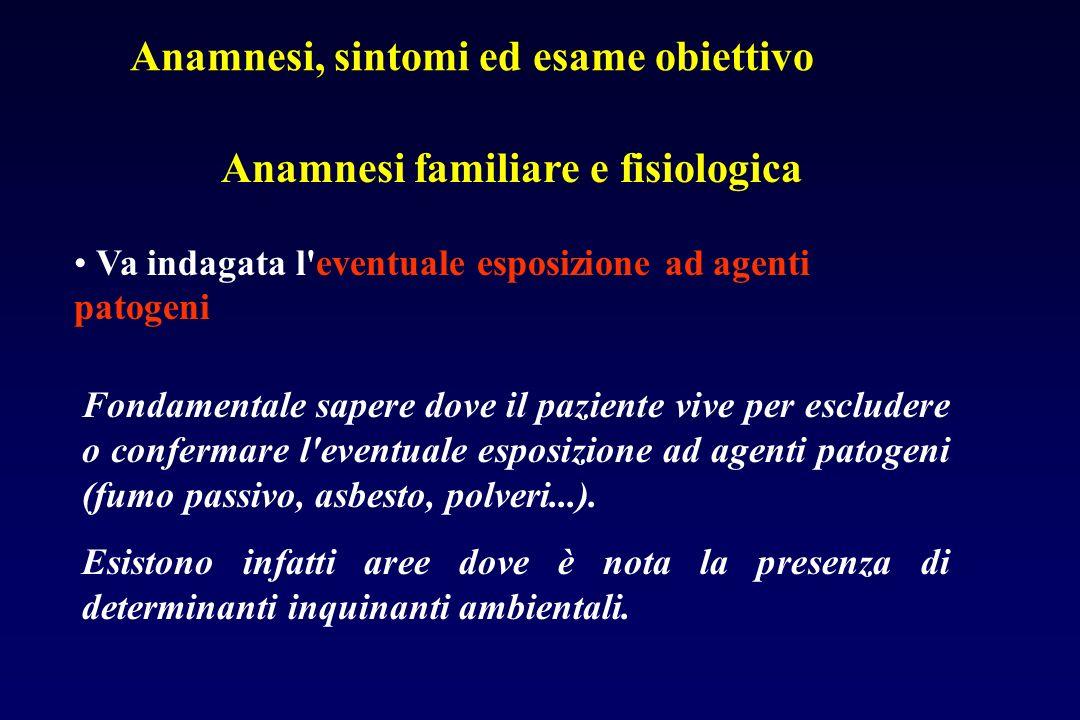 Anamnesi familiare e fisiologica Va indagata l abitudine tabagica: essendo questa alla base di numerose patologie polmonari.