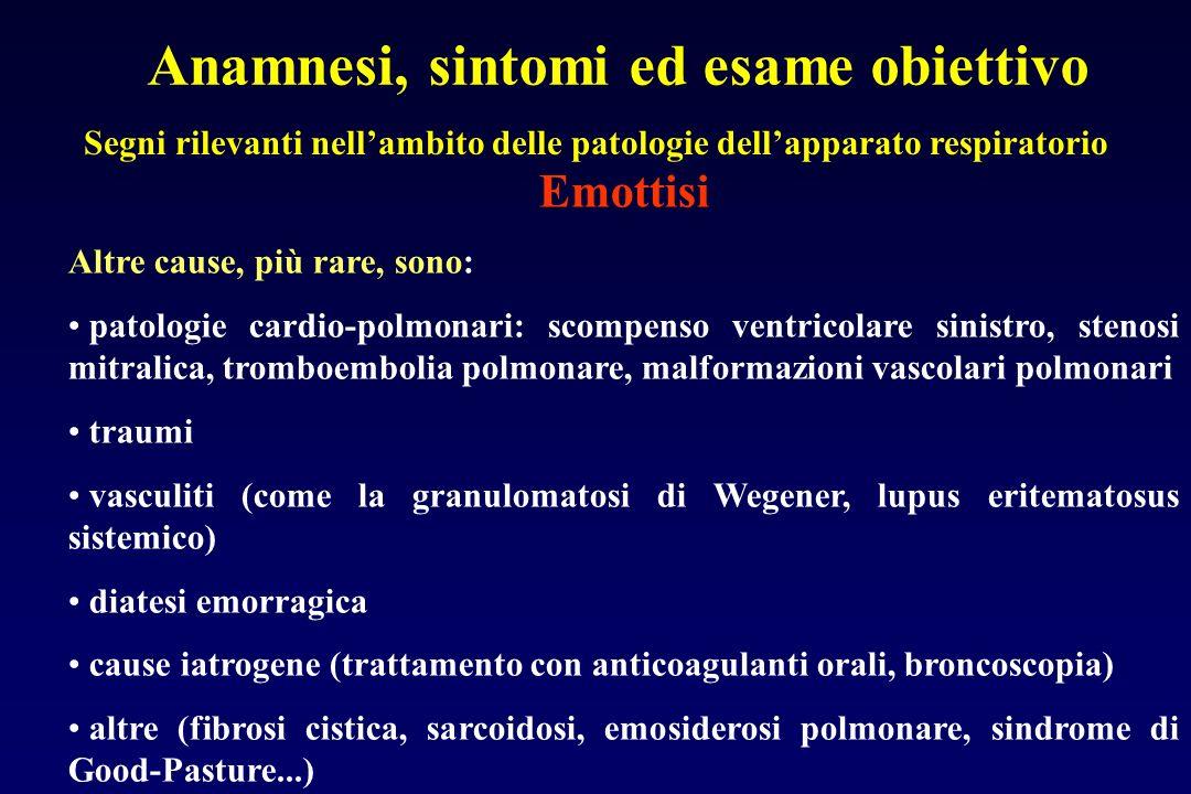 Anamnesi, sintomi ed esame obiettivo Segni rilevanti nellambito delle patologie dellapparato respiratorio Emottisi Altre cause, più rare, sono: patolo