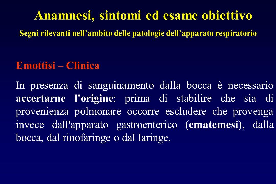 Anamnesi, sintomi ed esame obiettivo Segni rilevanti nellambito delle patologie dellapparato respiratorio Emottisi – Clinica In presenza di sanguiname