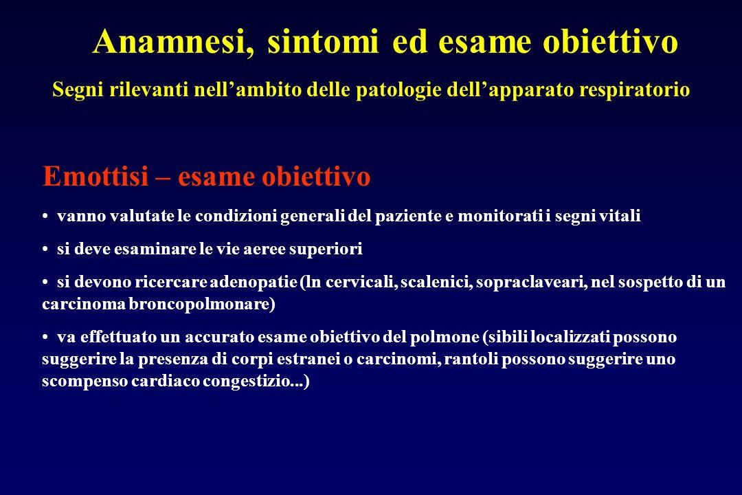 Anamnesi, sintomi ed esame obiettivo Segni rilevanti nellambito delle patologie dellapparato respiratorio Emottisi – esame obiettivo vanno valutate le