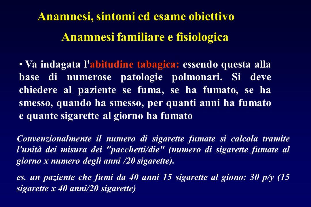 Anamnesi familiare e fisiologica Va indagata l'abitudine tabagica: essendo questa alla base di numerose patologie polmonari. Si deve chiedere al pazie