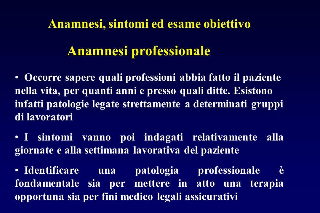 Anamnesi, sintomi ed esame obiettivo Occorre sapere quali professioni abbia fatto il paziente nella vita, per quanti anni e presso quali ditte. Esisto