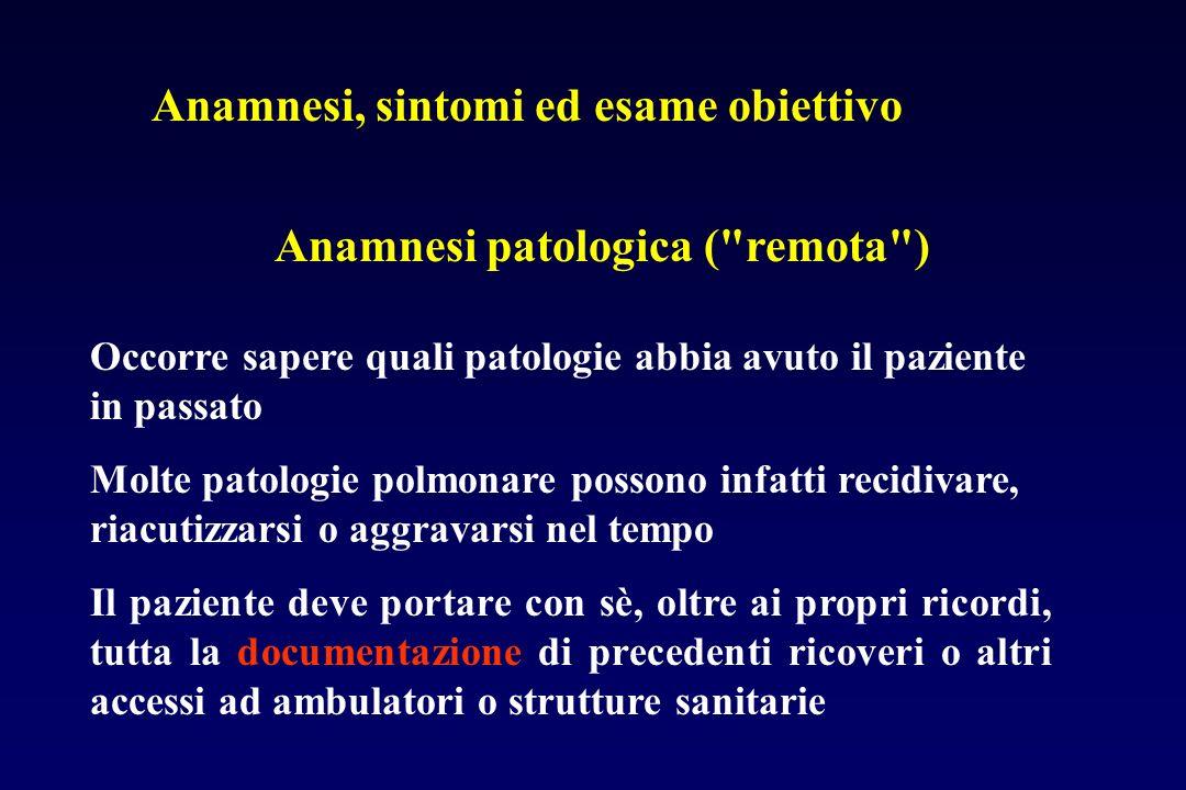 Anamnesi, sintomi ed esame obiettivo Anamnesi prossima: i sintomi I sintomi rappresentano il motivo principale per cui il paziente si reca dal medico La percezione dei sintomi è assai variabile da soggetto a soggetto.