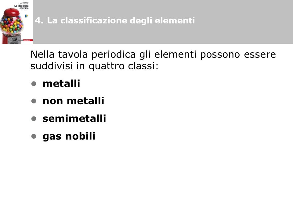 Nella tavola periodica gli elementi possono essere suddivisi in quattro classi: metalli non metalli semimetalli gas nobili