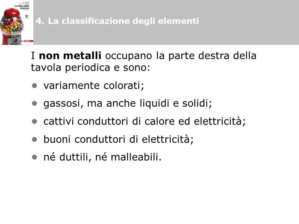 4.La classificazione degli elementi I non metalli occupano la parte destra della tavola periodica e sono: variamente colorati; gassosi, ma anche liquidi e solidi; cattivi conduttori di calore ed elettricità; buoni conduttori di elettricità; né duttili, né malleabili.
