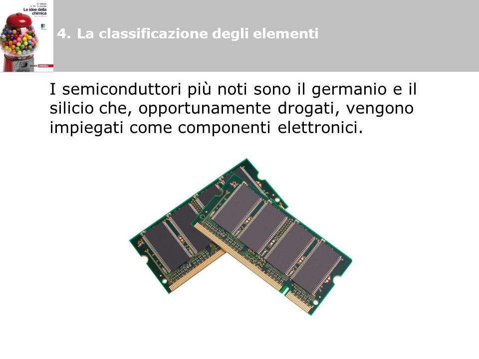 4.La classificazione degli elementi I semiconduttori più noti sono il germanio e il silicio che, opportunamente drogati, vengono impiegati come componenti elettronici.