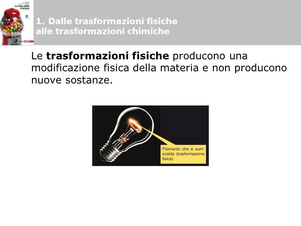 1.Dalle trasformazioni fisiche alle trasformazioni chimiche Le trasformazioni chimiche sono modificazioni che comportano una variazione della composizione chimica delle sostanze con formazione di nuove sostanze.