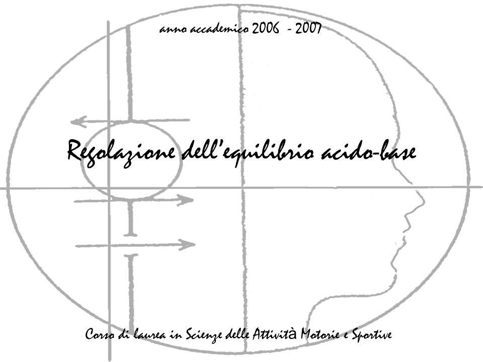 Regolazione dellequilibrio acido-base anno accademico 2006 - 2007 Corso di laurea in Scienze delle Attivit à Motorie e Sportive