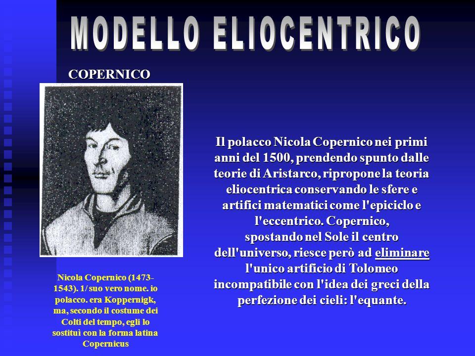 COPERNICO Nicola Copernico (1473- 1543). 1/ suo vero nome. io polacco. era Koppernigk, ma, secondo il costume dei Colti del tempo, egli lo sostituì co