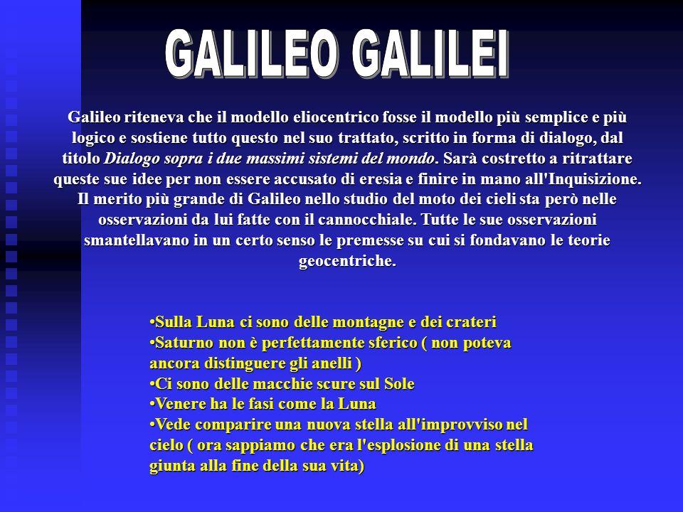 Galileo riteneva che il modello eliocentrico fosse il modello più semplice e più logico e sostiene tutto questo nel suo trattato, scritto in forma di