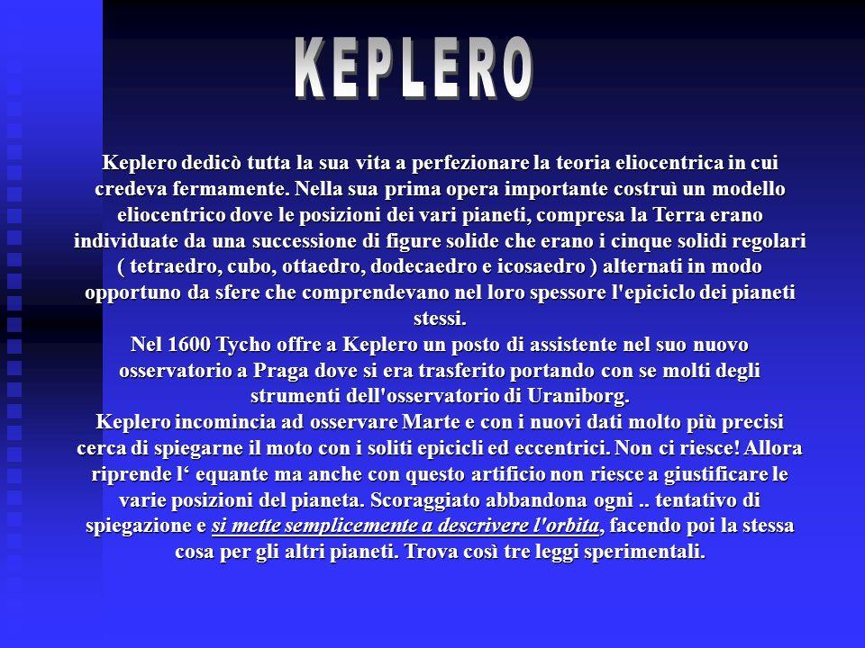 Keplero dedicò tutta la sua vita a perfezionare la teoria eliocentrica in cui credeva fermamente. Nella sua prima opera importante costruì un modello