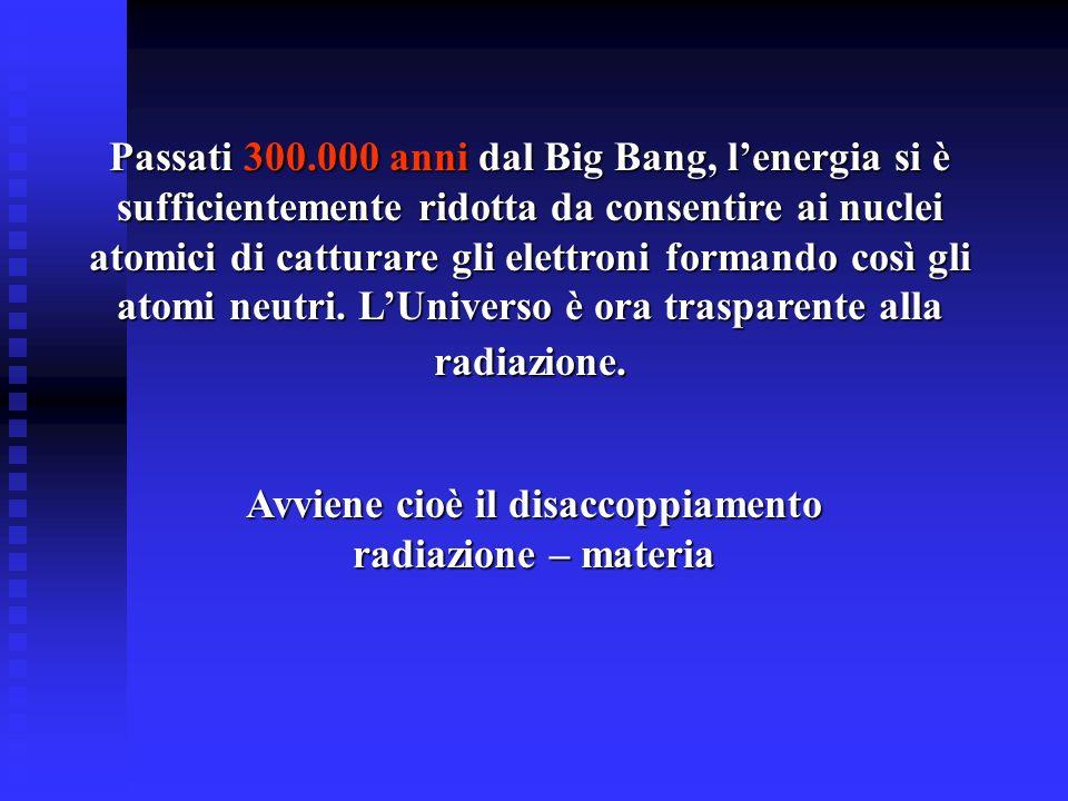 Passati 300.000 anni dal Big Bang, lenergia si è sufficientemente ridotta da consentire ai nuclei atomici di catturare gli elettroni formando così gli