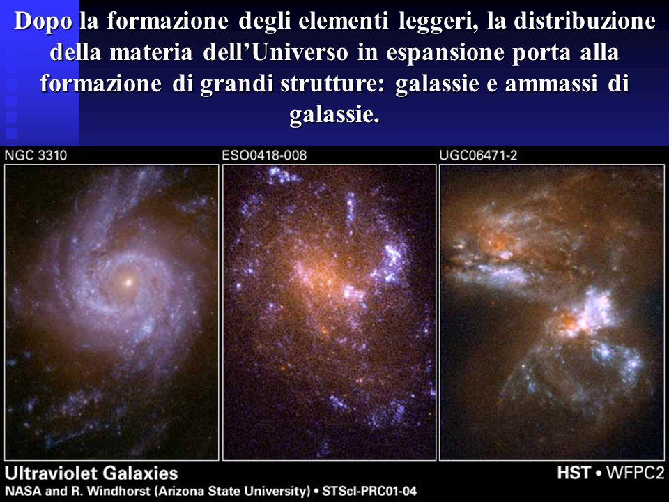 Dopo la formazione degli elementi leggeri, la distribuzione della materia dellUniverso in espansione porta alla formazione di grandi strutture: galass