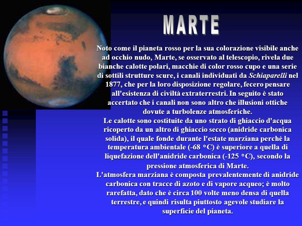 Noto come il pianeta rosso per la sua colorazione visibile anche ad occhio nudo, Marte, se osservato al telescopio, rivela due bianche calotte polari,
