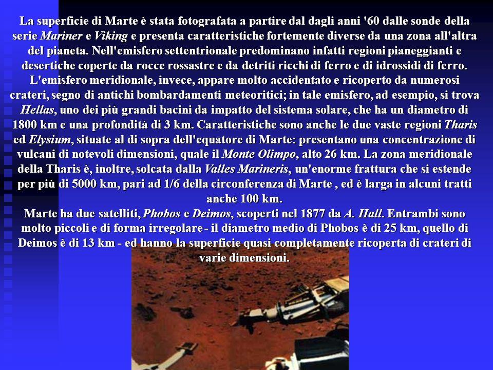 La superficie di Marte è stata fotografata a partire dal dagli anni '60 dalle sonde della serie Mariner e Viking e presenta caratteristiche fortemente