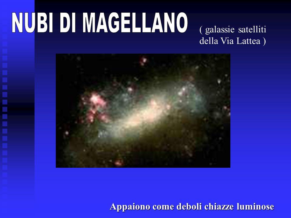 Appaiono come deboli chiazze luminose ( galassie satelliti della Via Lattea )