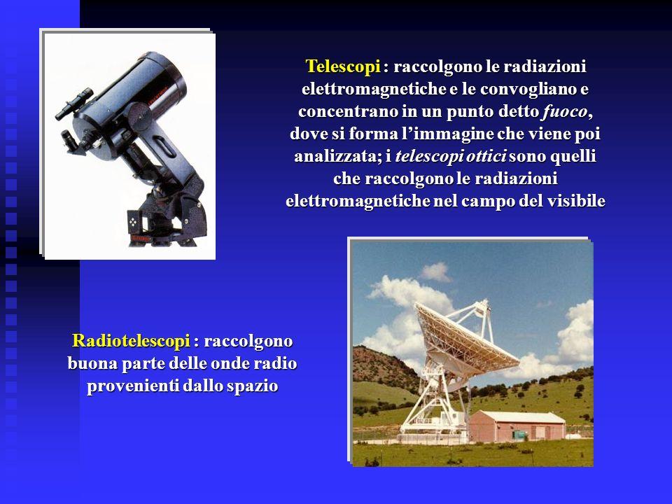 Telescopi : raccolgono le radiazioni elettromagnetiche e le convogliano e concentrano in un punto detto fuoco, dove si forma limmagine che viene poi a