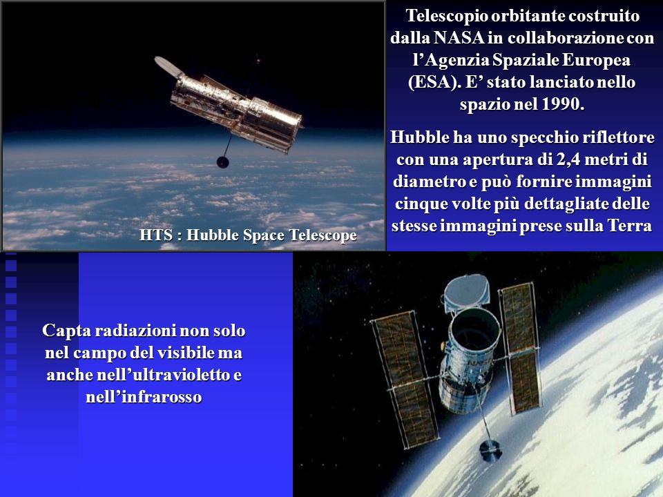HTS : Hubble Space Telescope Telescopio orbitante costruito dalla NASA in collaborazione con lAgenzia Spaziale Europea (ESA). E stato lanciato nello s