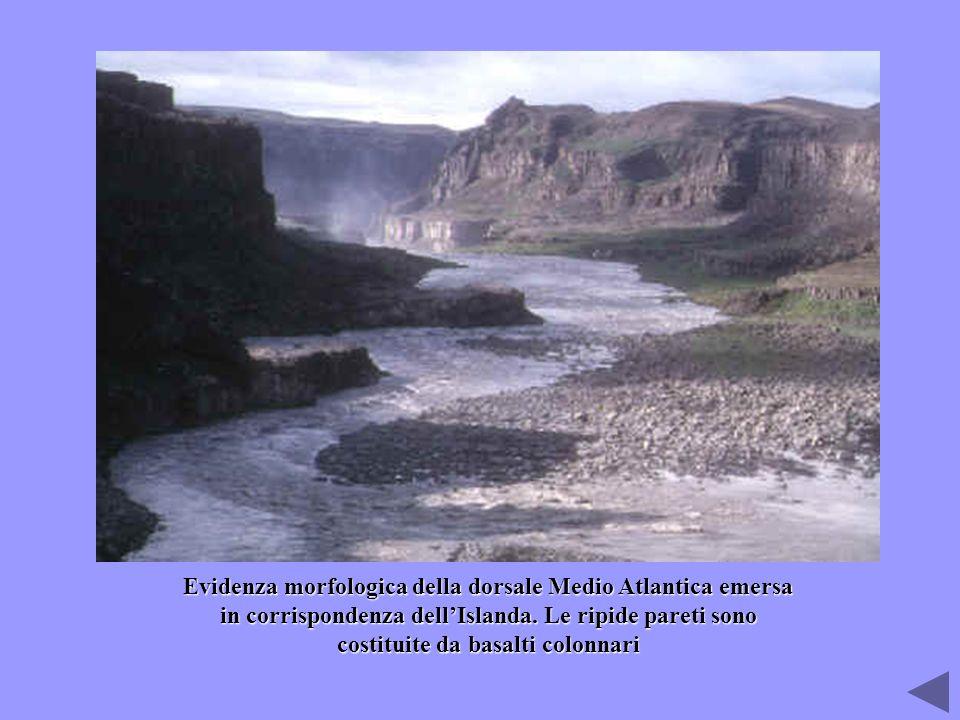 Evidenza morfologica della dorsale Medio Atlantica emersa in corrispondenza dellIslanda. Le ripide pareti sono costituite da basalti colonnari