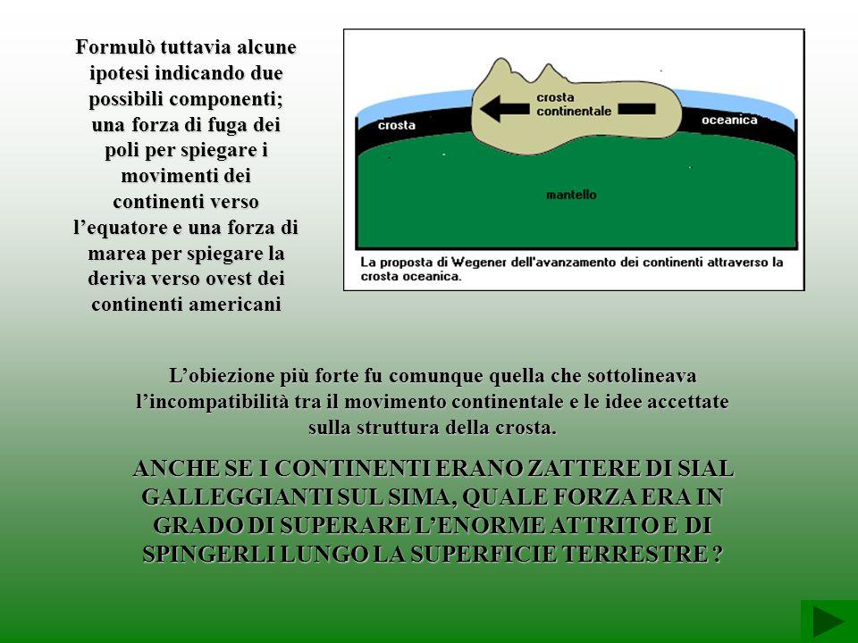 Formulò tuttavia alcune ipotesi indicando due possibili componenti; una forza di fuga dei poli per spiegare i movimenti dei continenti verso lequatore