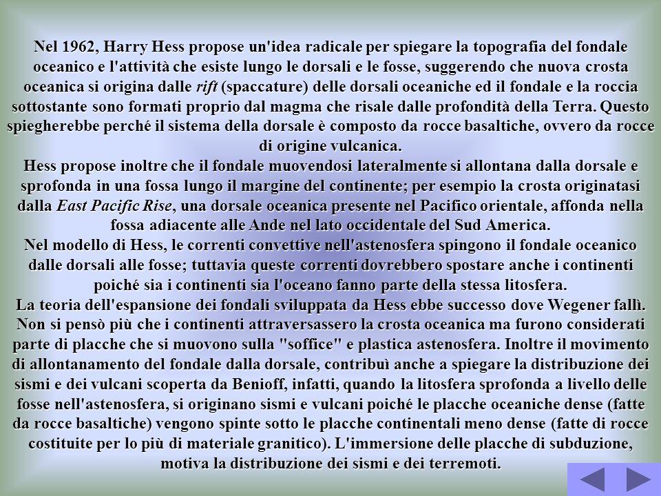 Nel 1962, Harry Hess propose un'idea radicale per spiegare la topografia del fondale oceanico e l'attività che esiste lungo le dorsali e le fosse, sug