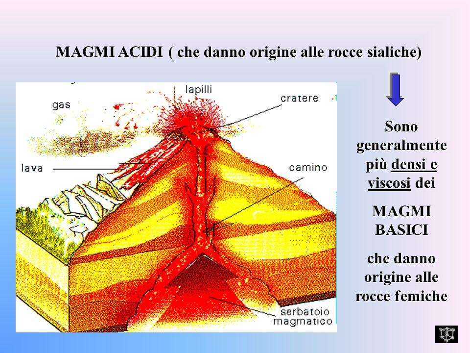 MAGMI ACIDI ( che danno origine alle rocce sialiche) Sono generalmente più densi e viscosi dei MAGMI BASICI che danno origine alle rocce femiche