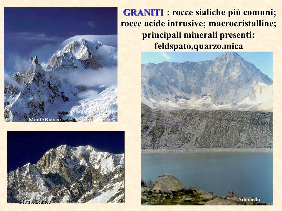GRANITI : rocce sialiche più comuni; rocce acide intrusive; macrocristalline; principali minerali presenti: feldspato,quarzo,mica GRANITI : rocce sial