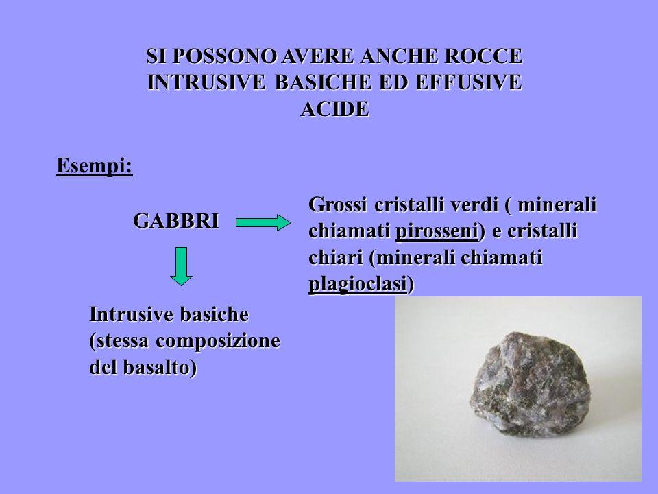 SI POSSONO AVERE ANCHE ROCCE INTRUSIVE BASICHE ED EFFUSIVE ACIDE Esempi: GABBRI Grossi cristalli verdi ( minerali chiamati pirosseni) e cristalli chia