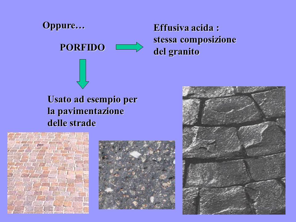Oppure… PORFIDO Effusiva acida : stessa composizione del granito Usato ad esempio per la pavimentazione delle strade
