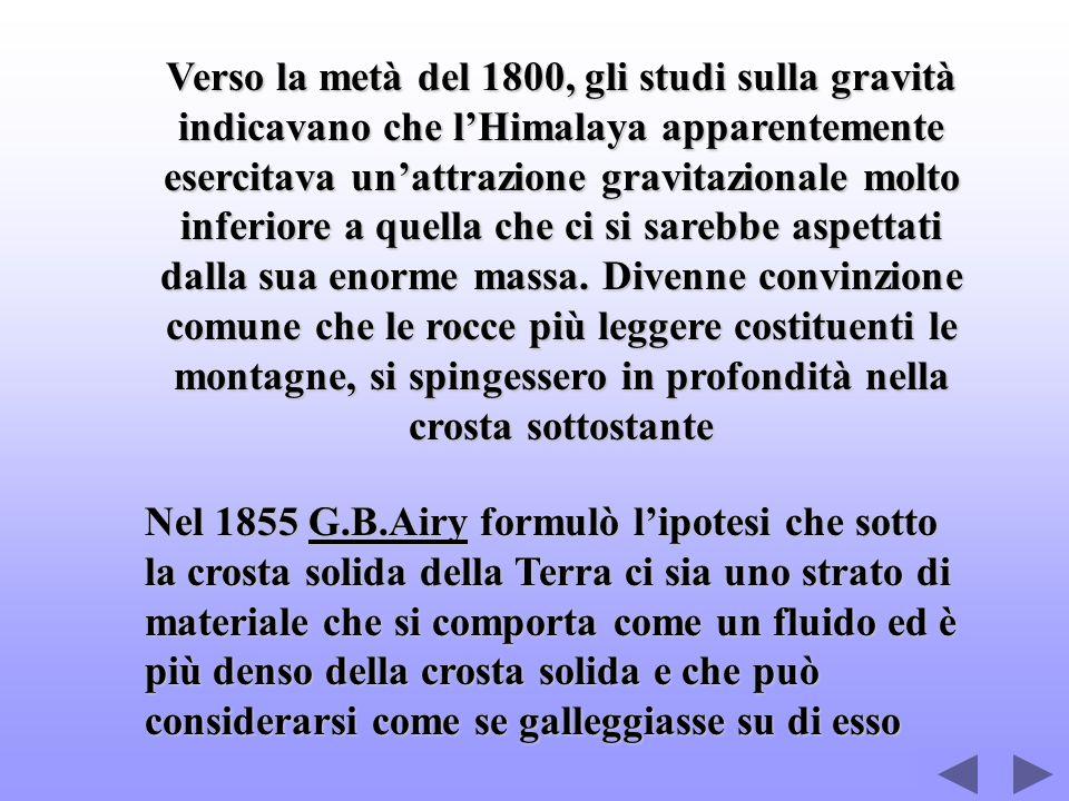 Verso la metà del 1800, gli studi sulla gravità indicavano che lHimalaya apparentemente esercitava unattrazione gravitazionale molto inferiore a quell