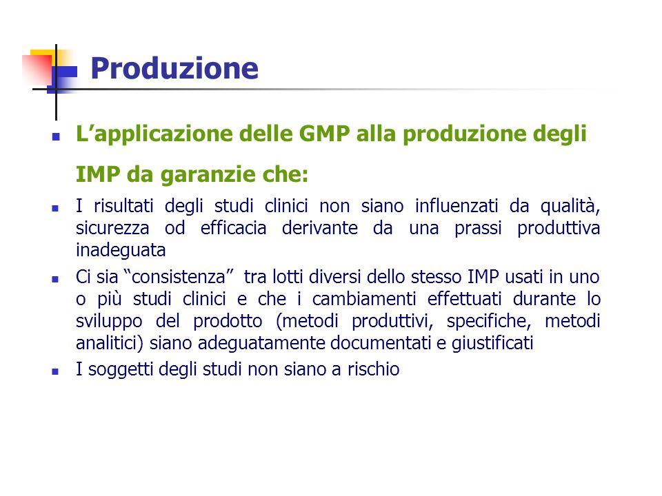 Produzione Lapplicazione delle GMP alla produzione degli IMP da garanzie che: I risultati degli studi clinici non siano influenzati da qualità, sicure