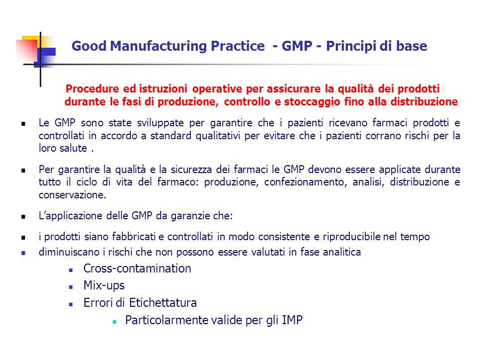 Good Manufacturing Practice - GMP - Principi di base Procedure ed istruzioni operative per assicurare la qualità dei prodotti durante le fasi di produ