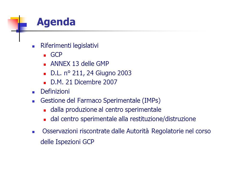 Agenda Riferimenti legislativi GCP ANNEX 13 delle GMP D.L. n° 211, 24 Giugno 2003 D.M. 21 Dicembre 2007 Definizioni Gestione del Farmaco Sperimentale