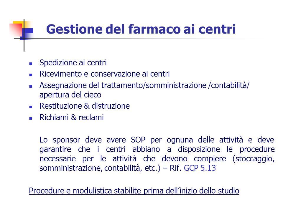 Gestione del farmaco ai centri Spedizione ai centri Ricevimento e conservazione ai centri Assegnazione del trattamento/somministrazione /contabilità/