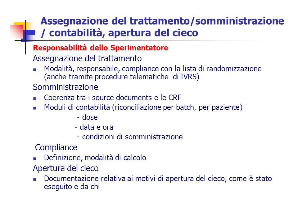 Assegnazione del trattamento/somministrazione / contabilità, apertura del cieco Responsabilità dello Sperimentatore Assegnazione del trattamento Modal