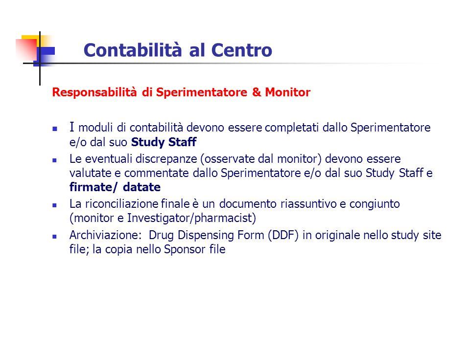 Contabilità al Centro Responsabilità di Sperimentatore & Monitor I moduli di contabilità devono essere completati dallo Sperimentatore e/o dal suo Stu