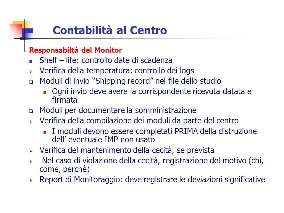Contabilità al Centro Responsabiltà del Monitor Shelf – life: controllo date di scadenza Verifica della temperatura: controllo dei logs Moduli di invi