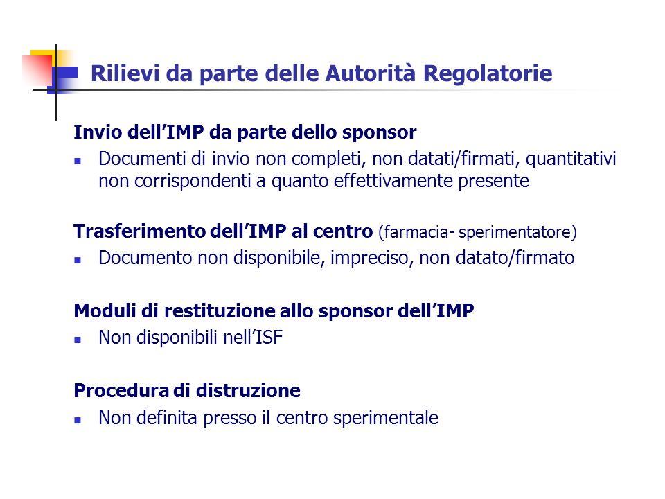 Rilievi da parte delle Autorità Regolatorie Invio dellIMP da parte dello sponsor Documenti di invio non completi, non datati/firmati, quantitativi non