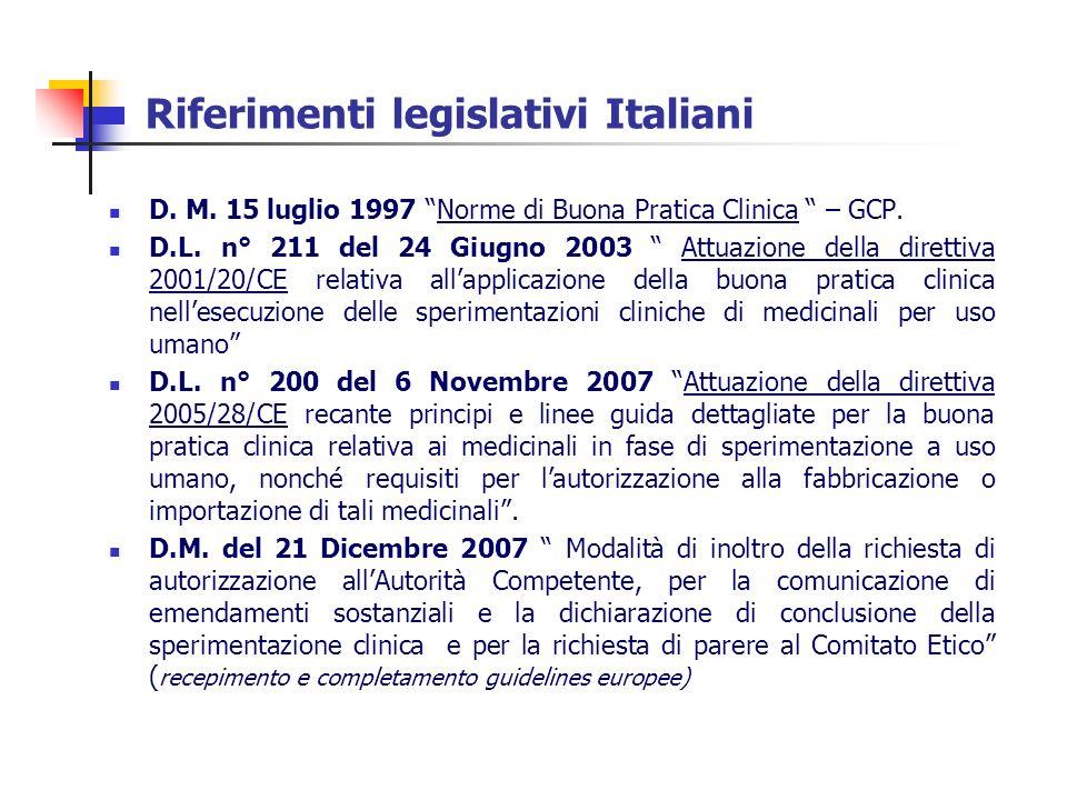 Riferimenti legislativi Italiani D. M. 15 luglio 1997 Norme di Buona Pratica Clinica – GCP. D.L. n° 211 del 24 Giugno 2003 Attuazione della direttiva