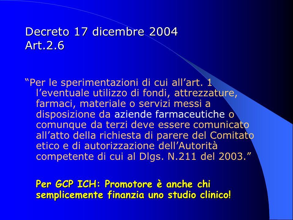 Decreto 17 dicembre 2004 Art.2.6 Per le sperimentazioni di cui allart. 1 leventuale utilizzo di fondi, attrezzature, farmaci, materiale o servizi mess