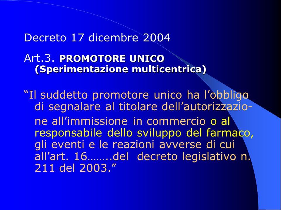 Decreto 17 dicembre 2004 PROMOTORE UNICO (Sperimentazione multicentrica) Art.3. PROMOTORE UNICO (Sperimentazione multicentrica) Il suddetto promotore