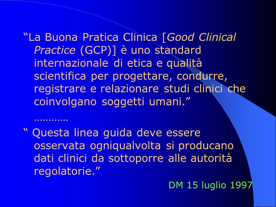 La Buona Pratica Clinica [Good Clinical Practice (GCP)] è uno standard internazionale di etica e qualità scientifica per progettare, condurre, registr