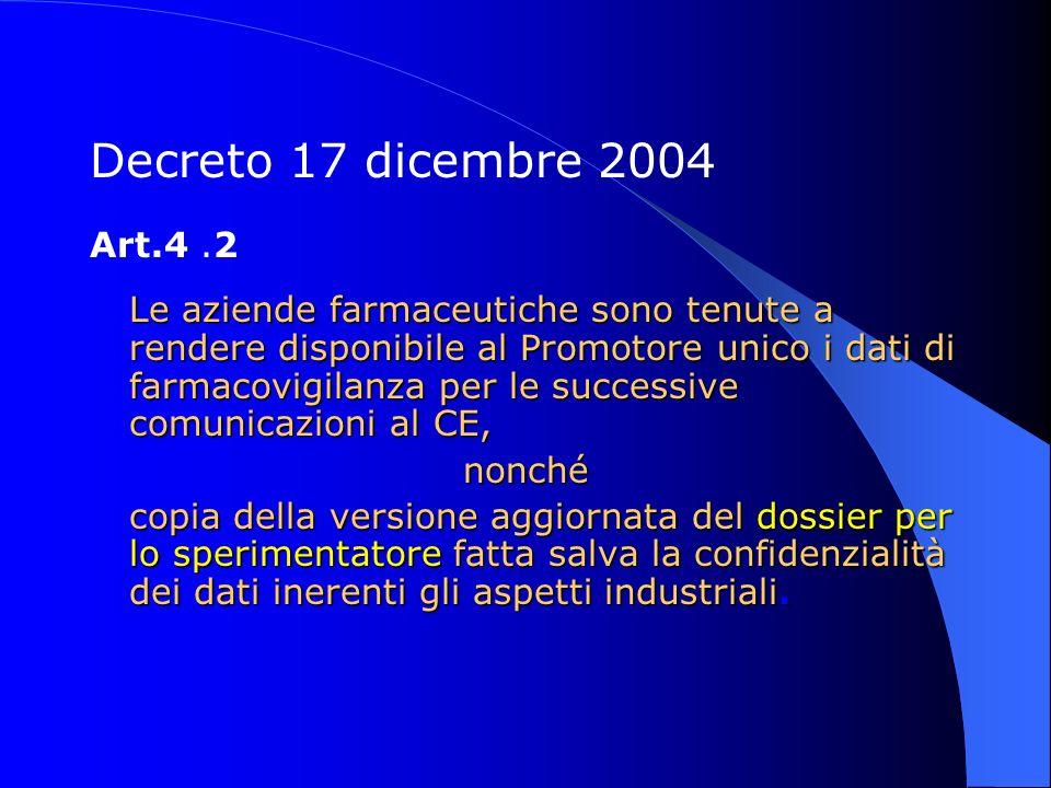 Decreto 17 dicembre 2004 Art.4.2 Le aziende farmaceutiche sono tenute a rendere disponibile al Promotore unico i dati di farmacovigilanza per le succe