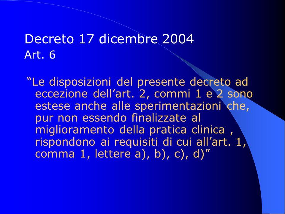 Decreto 17 dicembre 2004 Art. 6 Le disposizioni del presente decreto ad eccezione dellart. 2, commi 1 e 2 sono estese anche alle sperimentazioni che,