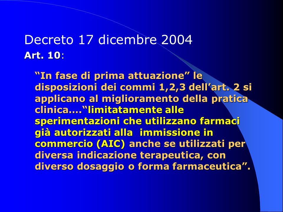 Decreto 17 dicembre 2004 Art. 10: In fase di prima attuazione le disposizioni dei commi 1,2,3 dellart. 2 si applicano al miglioramento della pratica c