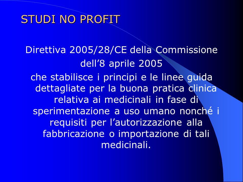 STUDI NO PROFIT Direttiva 2005/28/CE della Commissione dell8 aprile 2005 che stabilisce i principi e le linee guida dettagliate per la buona pratica c